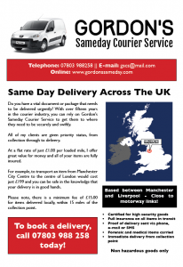 Flyer for Gordon's Sameday Courier Service (2013)